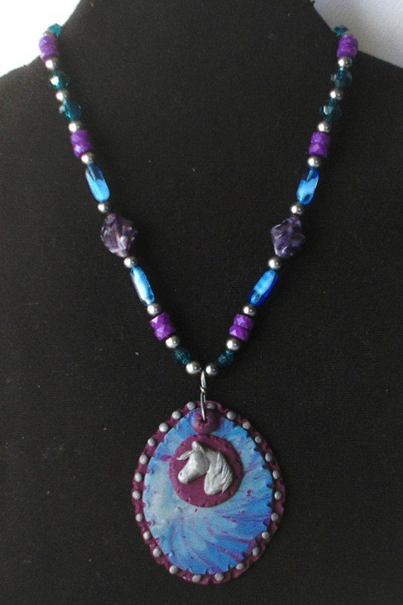 Handsculpted horse pendant  Polymer clay on vintage bead necklace