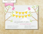 Birds and Branches - Baby Girl Shower Invitation - Digital File - Printable