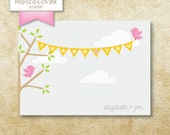Birds and Branches - Thank You Note Cards - Digital File - Printable - Boy or Girl