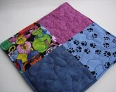 Catnip quilted blanket, cat nap quilt, catnip mat pink and blue