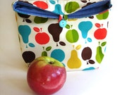 Lunch tote bag, reusable eco friendly lunch bag modern bold bright apple pear cotton fabric