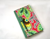 Fabric covered journal notebook, reusable cover, bold bright