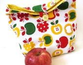 Lunch tote bag reusable eco friendly apples modern insulated school teachers students yellow red green