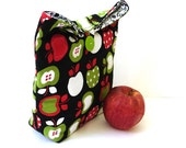 Lunch tote bag cotton insulated red lime black women kids button closure