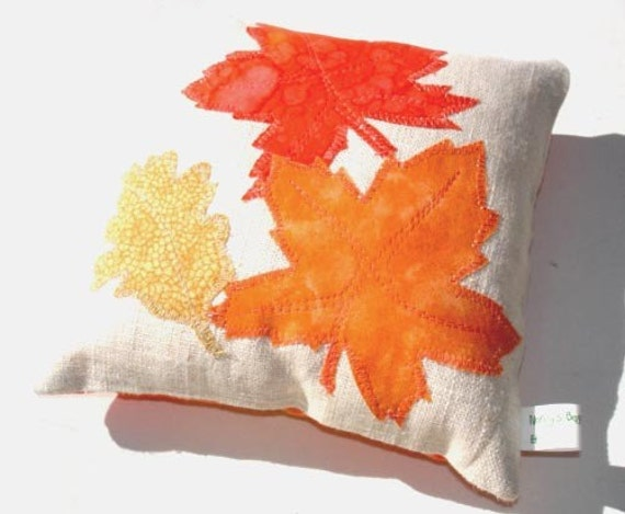Small appliqued toss pillow, orange leaves autumn home decor accent mini