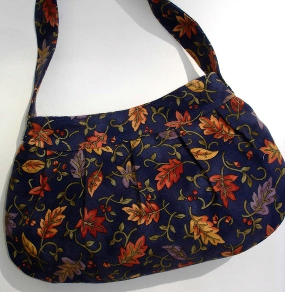 Pleated purse leaf print soft flannel, blue gold orange, autumn winter pocketbook