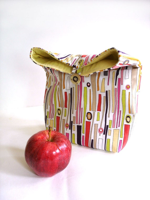 Lunch bag. Reusable eco-friendly lunch tote, modern stripes