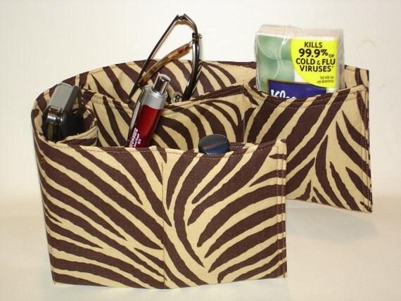 Purse insert organizer pockets, bag organizer, brown zebra stripes cotton medium size