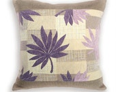 Decorative Pillow Cover 18 in Linen Cushion Case In Beige, Lilac and Eggplant PURPLE LEAVES