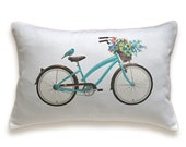 Bicycle Pillow Cover 12x18 inch White Cotton PRINT DESIGN 18