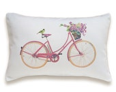 Bicycle Pillow Cover 12x18 inch White Cotton PRINT DESIGN 32 - DelindaBoutique