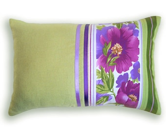 Green Purple Decorative Lumbar Pillow Case 12 x 18 in FABIANA DESIGN