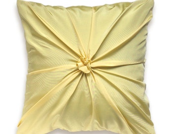 Mild Yellow Pillow Cover 16 inch ROSETTE DESIGN