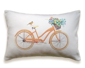 Bicycle Pillow Cover 12x18 inch White Cotton PRINT DESIGN 19