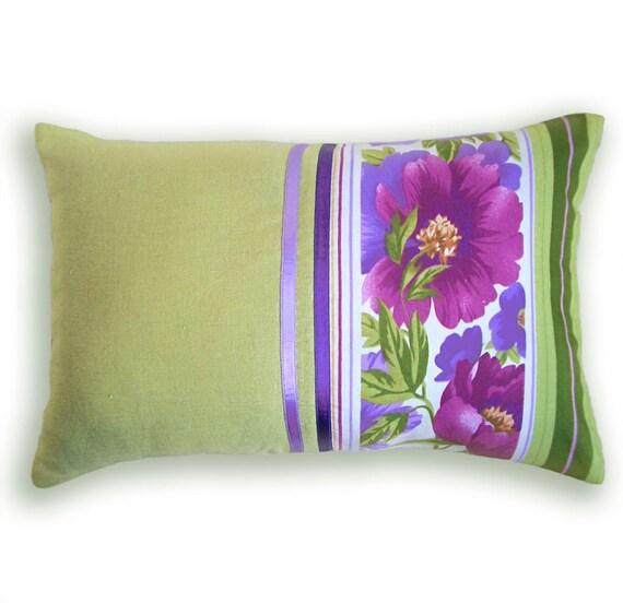Green Purple Decorative Lumbar Pillow Case 12 x 18 in FABIANA DESIGN
