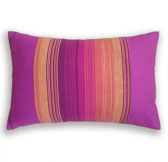 Orange and Hot Pink Pillow Cover 12 x 18 in MARTHA DESIGN