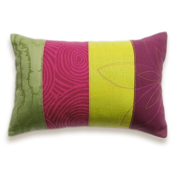 Patchwork Stripes Decorative Lumbar Pillow Cover 12x18 DHARMA DESIGN