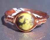 Lepidolite Yellow Turquoise Ring Copper Wire Wrapped