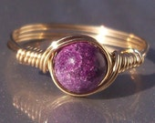 Charoite 14k Yellow Gold Filled Wire Wrapped Ring