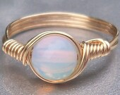 Opaline 14k Yellow Gold Filled Custom Sized Wire Wrapped Ring