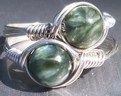 Seraphinite Green Custom Sized Argentium Sterling Silver or 14k Gold Filled Wire Wrapped Ring