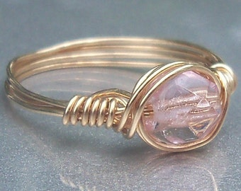 Wire Wrapped Ring Peachy Pink Czech Glass 14k Yellow Gold Filled
