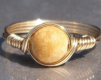 Aragonite 14k Yellow Gold Filled Wire Wrapped Ring