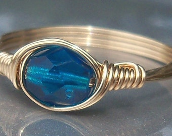 Deep Blue Sea Czech Glass 14k Yellow Gold Filled Wire Wrapped Ring