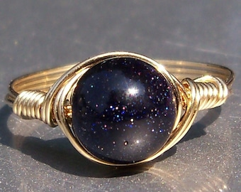 Large Blue Goldstone 14k Yellow Gold Filled Wire Wrapped Ring Custom Sized