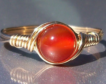Carnelian 14k Yellow Gold Filled Wire Wrapped Gemstone Ring Custom Sized