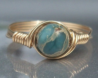 Blue Aqua Terra Jasper 14k Gold Filled Custom Sized Wire Wrapped Ring