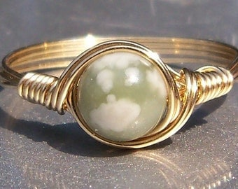 Serpentine Peace Jade 14k Yellow Gold Filled Wire Wrapped Ring