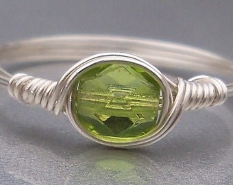 Grass Green Czech Glass Argentium Sterling Silver or 14k Gold Filled Wire Wrapped Ring