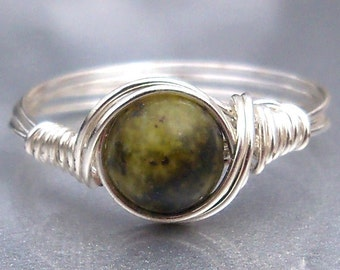 Yellow Turquiose Argentium Sterling Silver or 14k Gold Filled Wire Wrapped Ring