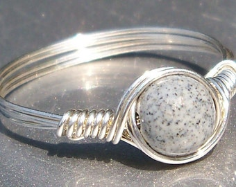 Black Spotted Feldspar Argentium Sterling Silver Custom Sized Wire Wrapped Ring