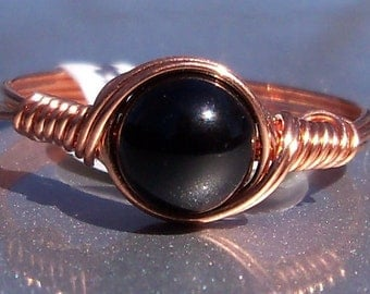 Black Obsidian Ring Copper Wire Wrapped Ring