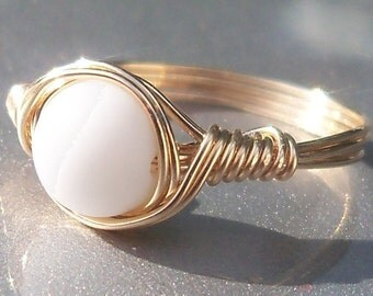 Milky White Faux Sea Glass14k Gold Filled Wire Wrapped Custom Sized Ring