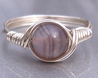 Gray Botswana Agate Custom Sized Argentium Sterling Silver Or 14k Gold Filled Wire Wrapped Ring