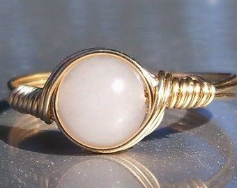 Snow Quartz 14k Gold Filled Wire Wrapped Ring