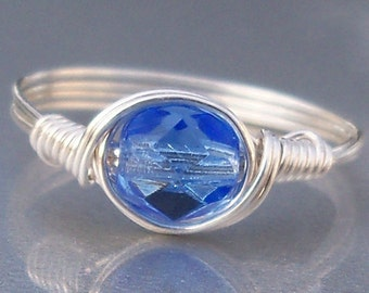 Periwinkle Czech Glass Argentium Sterling Silver Or 14k Gold Filled Wire Wrapped Ring