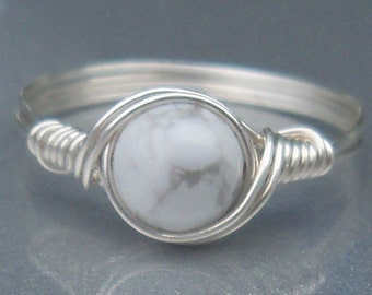 White Howlite Argentium Sterling Silver Wire Wrapped Ring