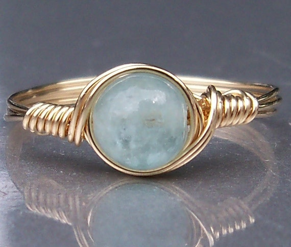 Aquamarine Ring 14k Gold Filled Wire Wrapped Gemstone Ring Birthstone Ring