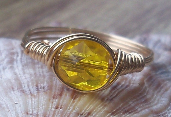 Daffodil Yellow Czech Glass Argentium Sterling Silver or 14k Yellow Gold Filled Wire Wrapped Ring