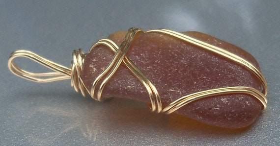 OOAK Brown Sea Glass 14k Gold Filled Wire Wrapped Pendant