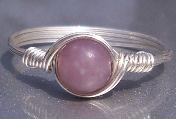 Lilac Stone Argentium Sterling Silver Wire Wrapped Ring