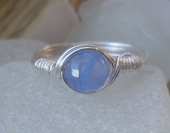Blue Crab Fire Agate Argentium Sterling Silver Wire Wrapped Ring Custom Sized