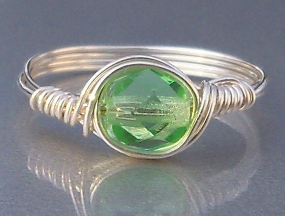 Celery Czech Glass Argentium Sterling Silver OR 14k Gold Filled Wire Wrapped Ring