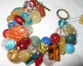 Chunky  Beaded Bracelet, Colorful Semi Precious Feng Shui Stones, Yoga Hand Knit Fiber - OOAK - Sereba  designs