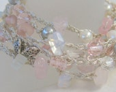 Long Crochet Wrap Necklace/ Bracelet,  Rose Pink Quartz , Gray Pearl,  Semi Precious, Moonstone Quartz, Unique, Sereba Designs