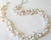 Fresh water SOFT Blush Petal Rose PINK Pearl CHIFFON Crystal Bridal Wedding Necklace, Romance, White, Ivory, HandKnit Twist Artisan Original